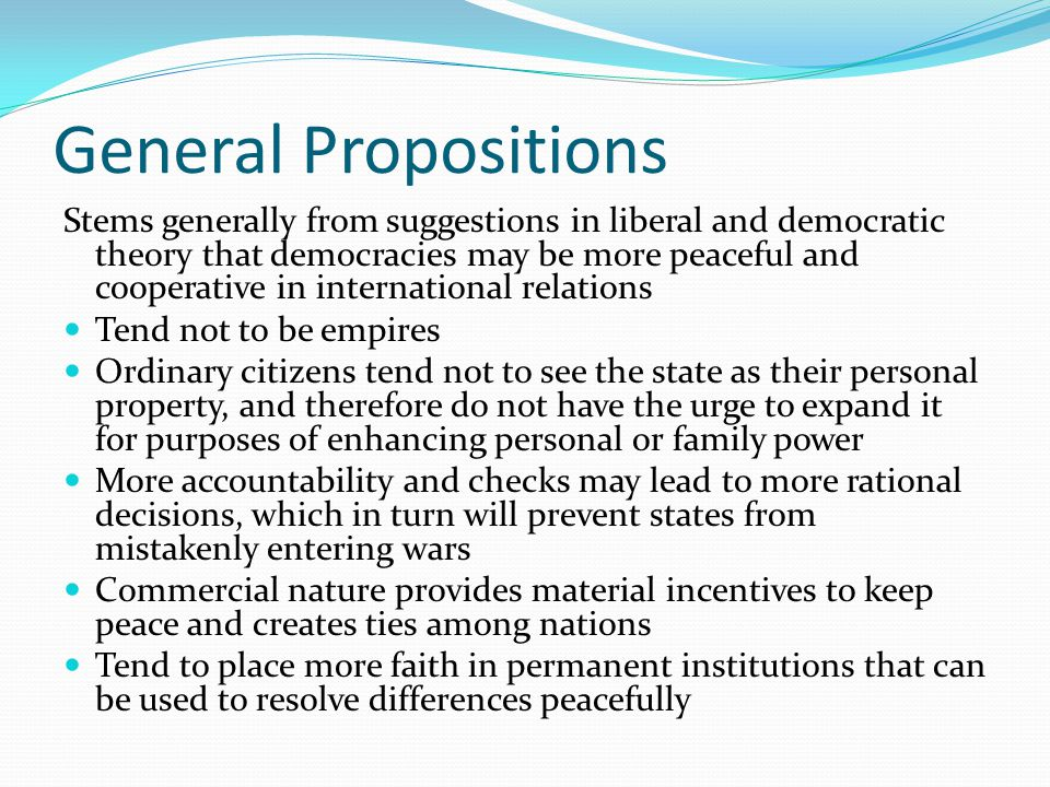 General Propositions
