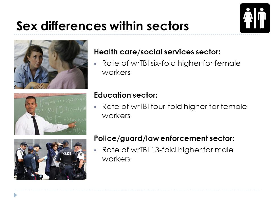 Sex differences within sectors