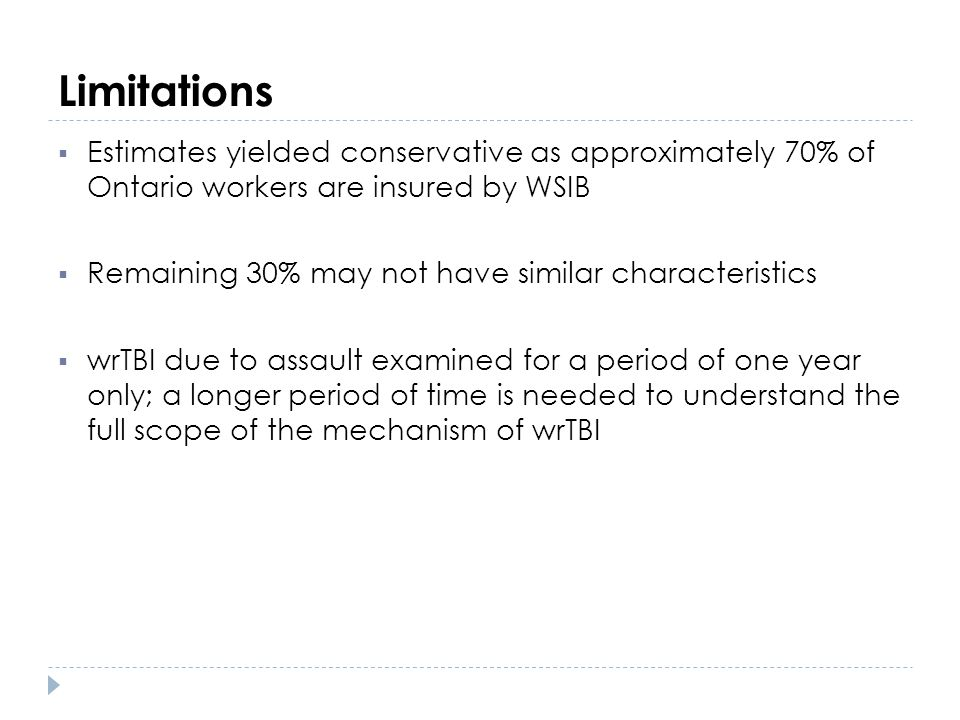 Limitations Estimates yielded conservative as approximately 70% of Ontario workers are insured by WSIB.