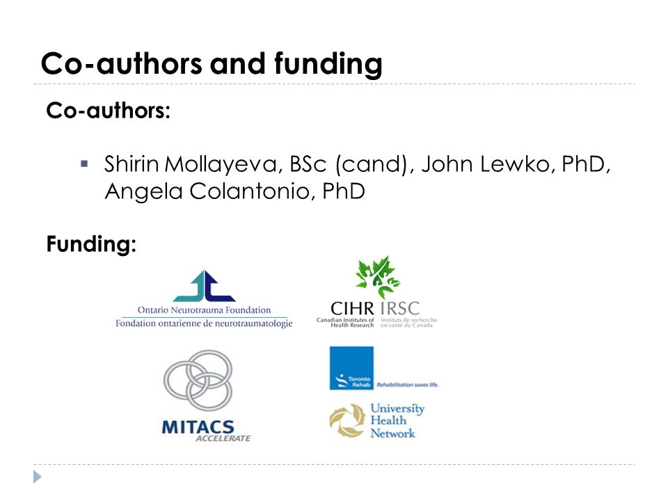 Co-authors and funding