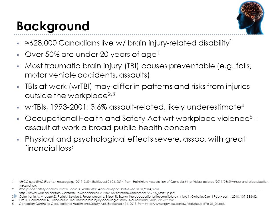 Background ≈628,000 Canadians live w/ brain injury-related disability1