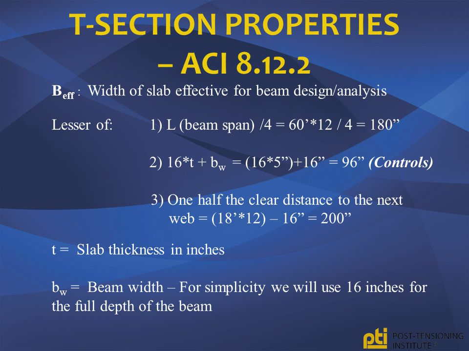 T-Section Properties – ACI 8.12.2