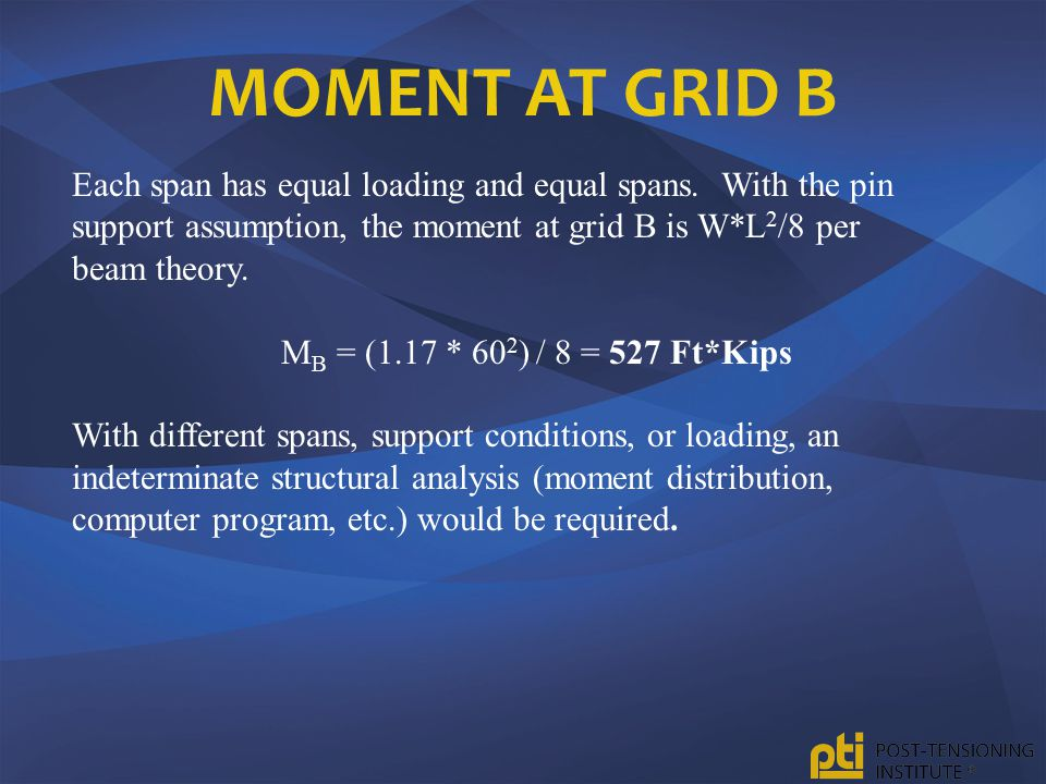 Moment at Grid B Each span has equal loading and equal spans. With the pin support assumption, the moment at grid B is W*L2/8 per beam theory.