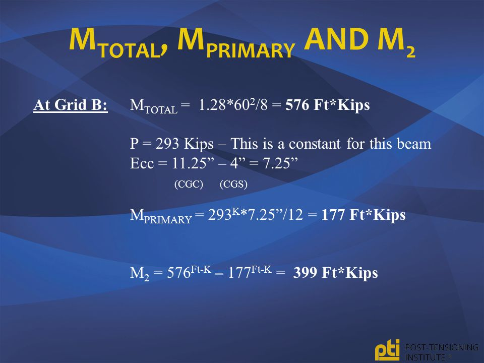 MTOTAL, MPRIMARY and M2 At Grid B: MTOTAL = 1.28*602/8 = 576 Ft*Kips