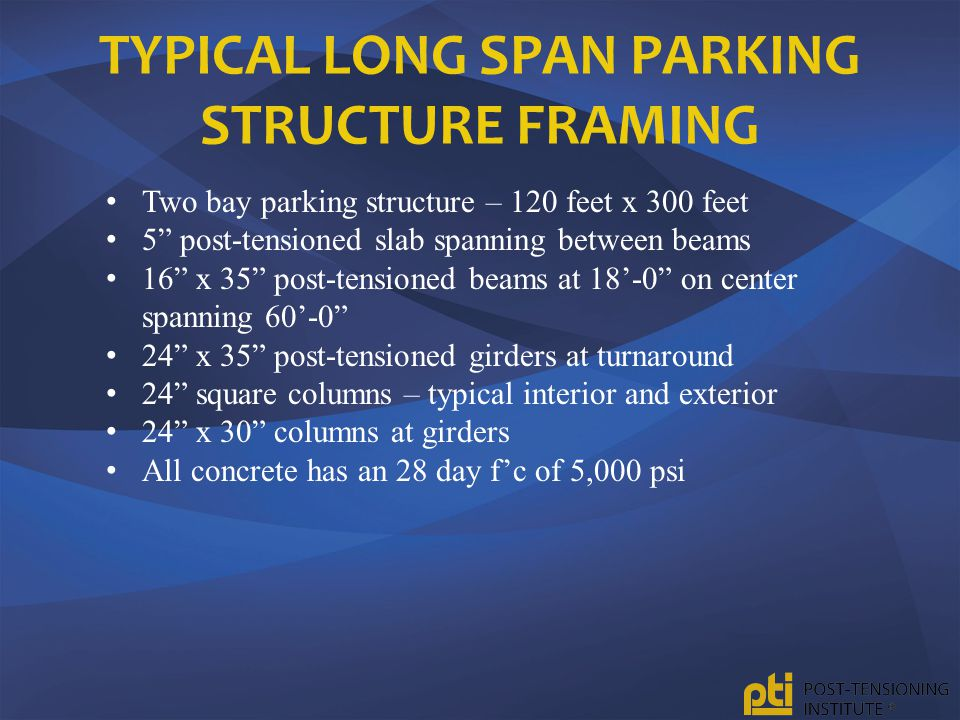 Typical Long Span Parking Structure Framing