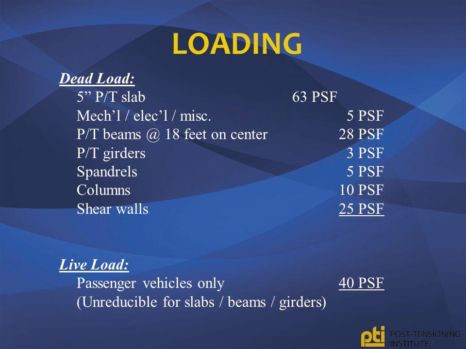 Loading Dead Load: 5 P/T slab 63 PSF Mech'l / elec'l / misc. 5 PSF