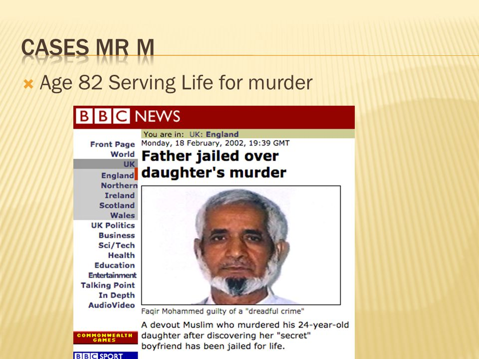 Cases Mr M Age 82 Serving Life for murder
