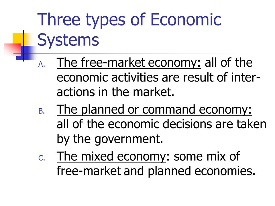 Three types of Economic Systems