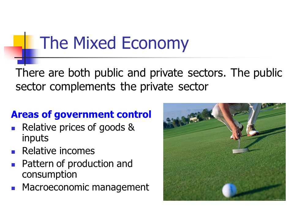 The Mixed Economy There are both public and private sectors. The public sector complements the private sector.