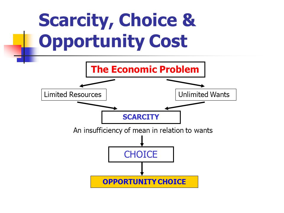 concepts of scarcity and choice 22 chapter 2 scarcity, choice, and economic systems all production carries an opportunity cost: to produce more of one thing, society must shift resources away from producing something else.