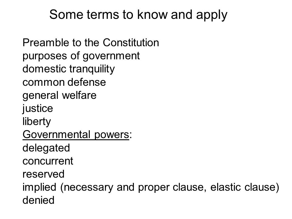 Some terms to know and apply