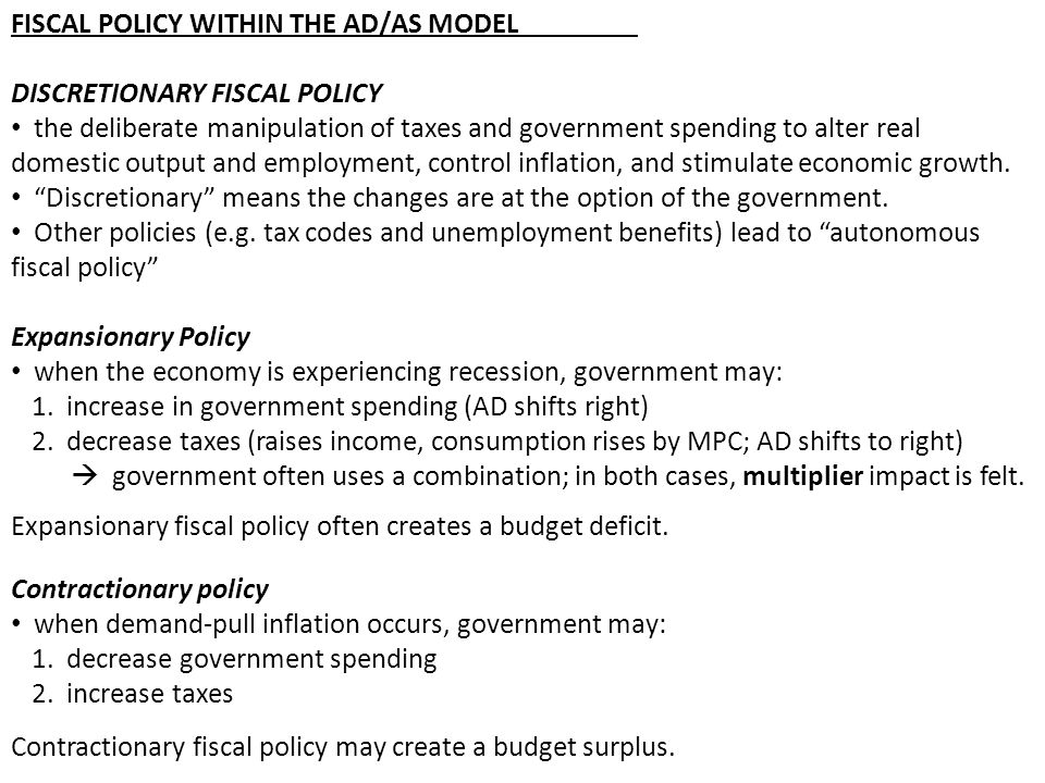 FISCAL POLICY WITHIN THE AD/AS MODEL
