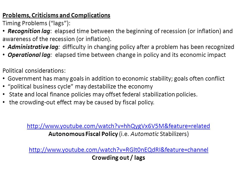 Autonomous Fiscal Policy (i.e. Automatic Stabilizers)