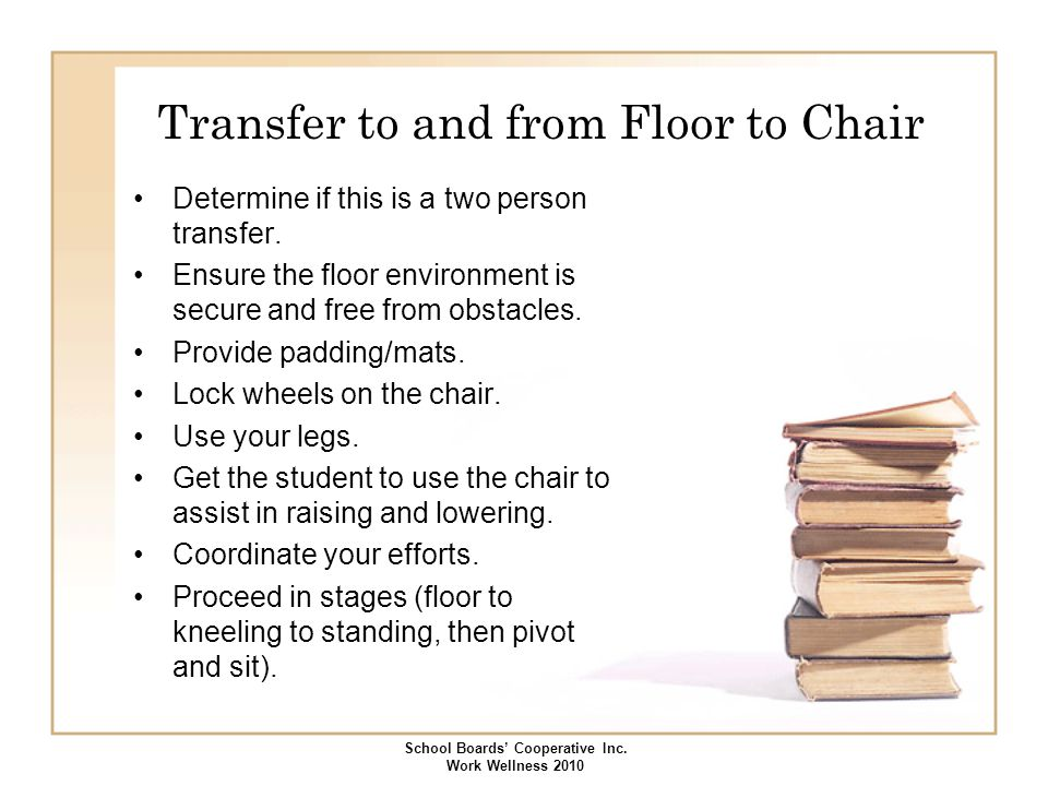 Transfer to and from Floor to Chair