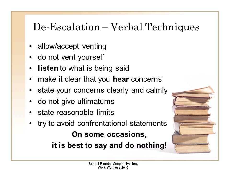 De-Escalation – Verbal Techniques