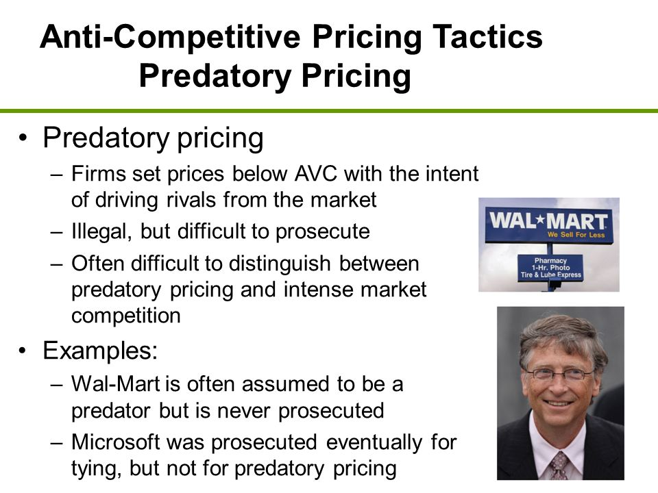 Anti-Competitive Pricing Tactics Predatory Pricing