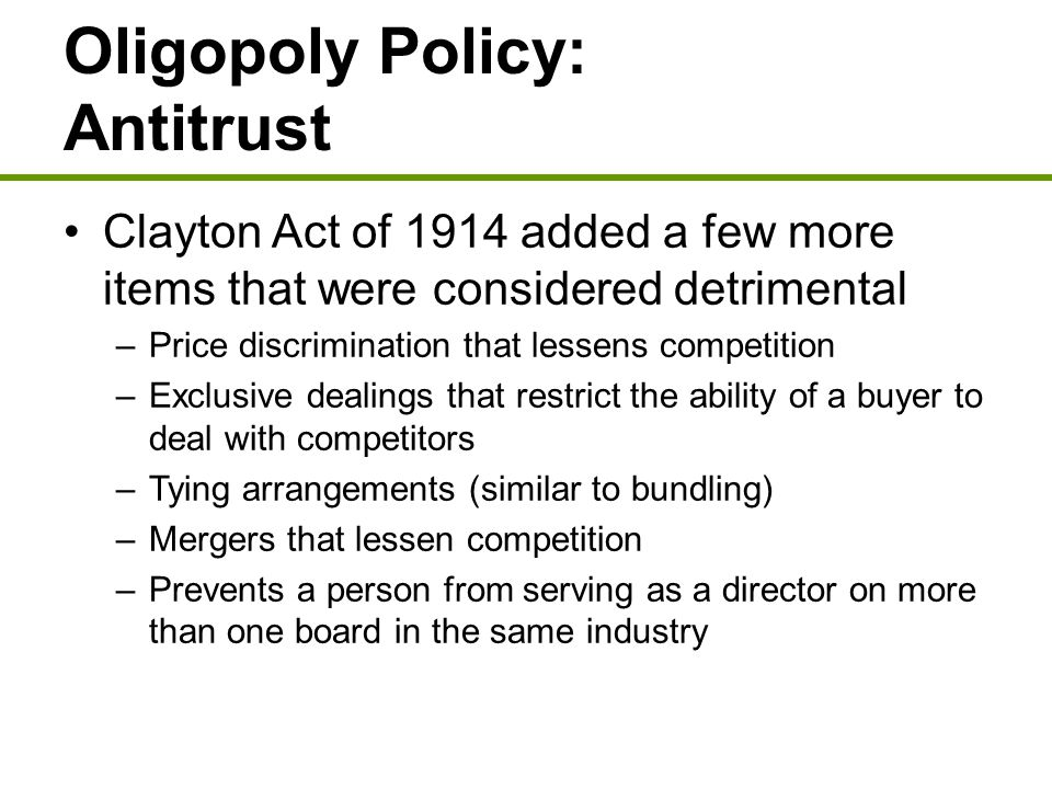 Oligopoly Policy: Antitrust