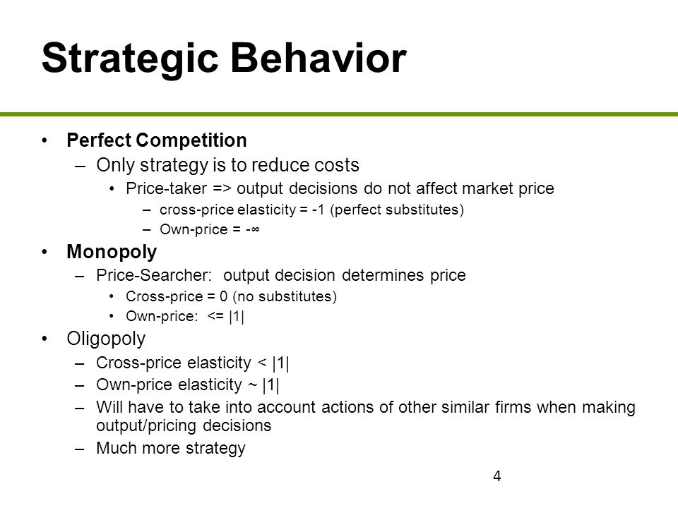 Strategic Behavior Perfect Competition