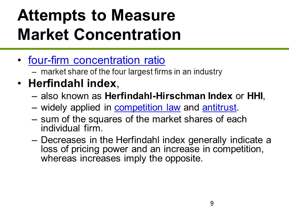 Attempts to Measure Market Concentration