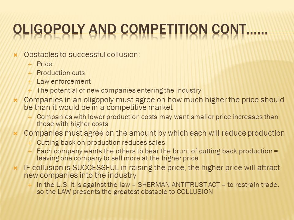 OLIGoPOLY AND Competition cont……