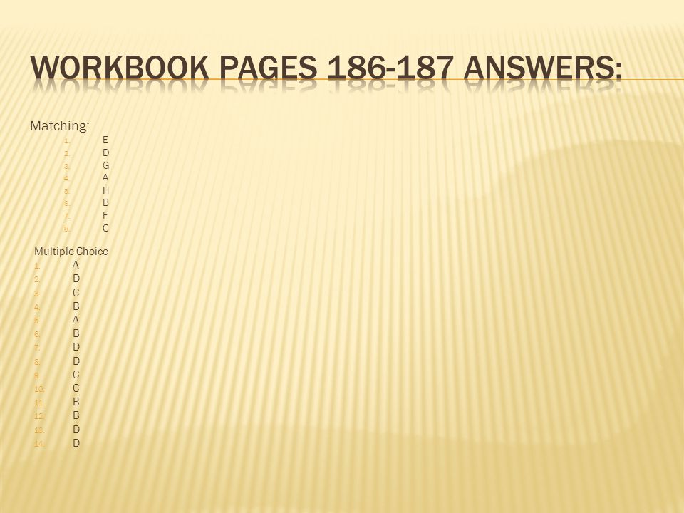 Workbook Pages 186-187 Answers: