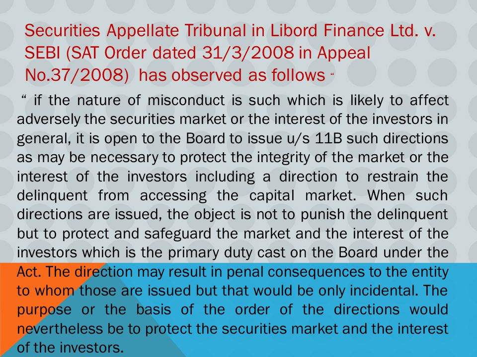 Securities Appellate Tribunal in Libord Finance Ltd. v