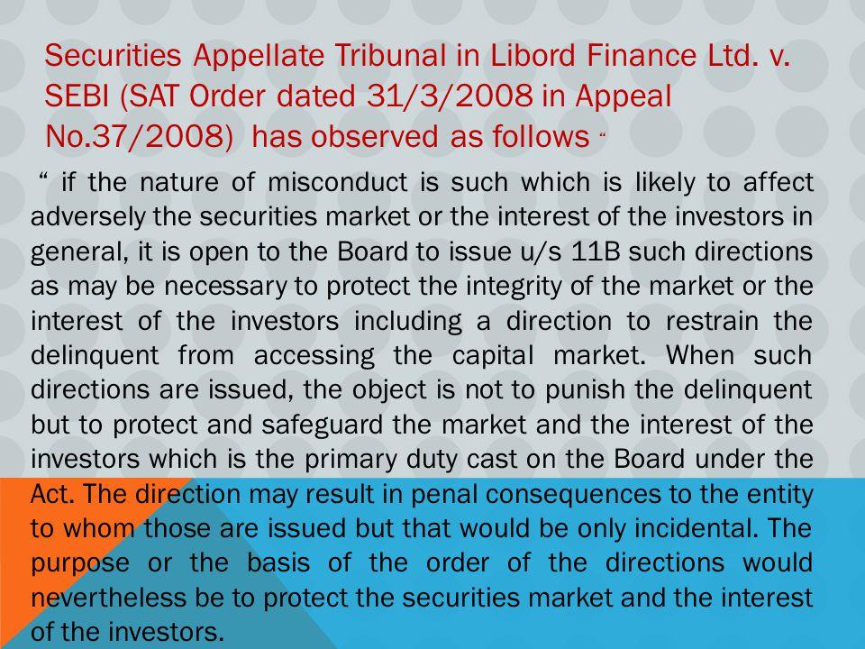 Securities Appellate Tribunal in Libord Finance Ltd. v