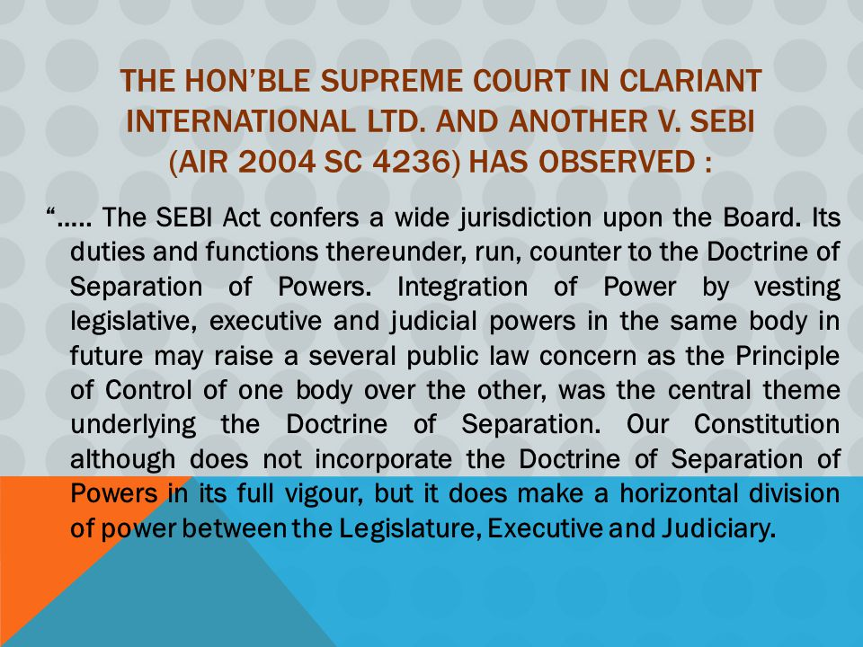The Hon'ble Supreme Court in Clariant International Ltd. and another v