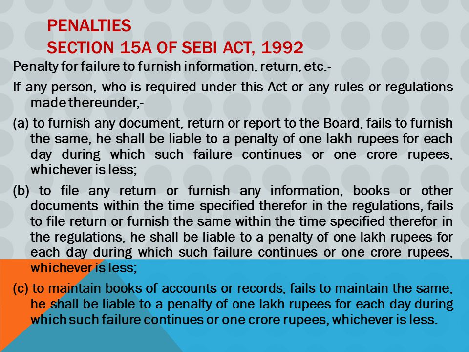 Penalties Section 15A of SEBI Act, 1992