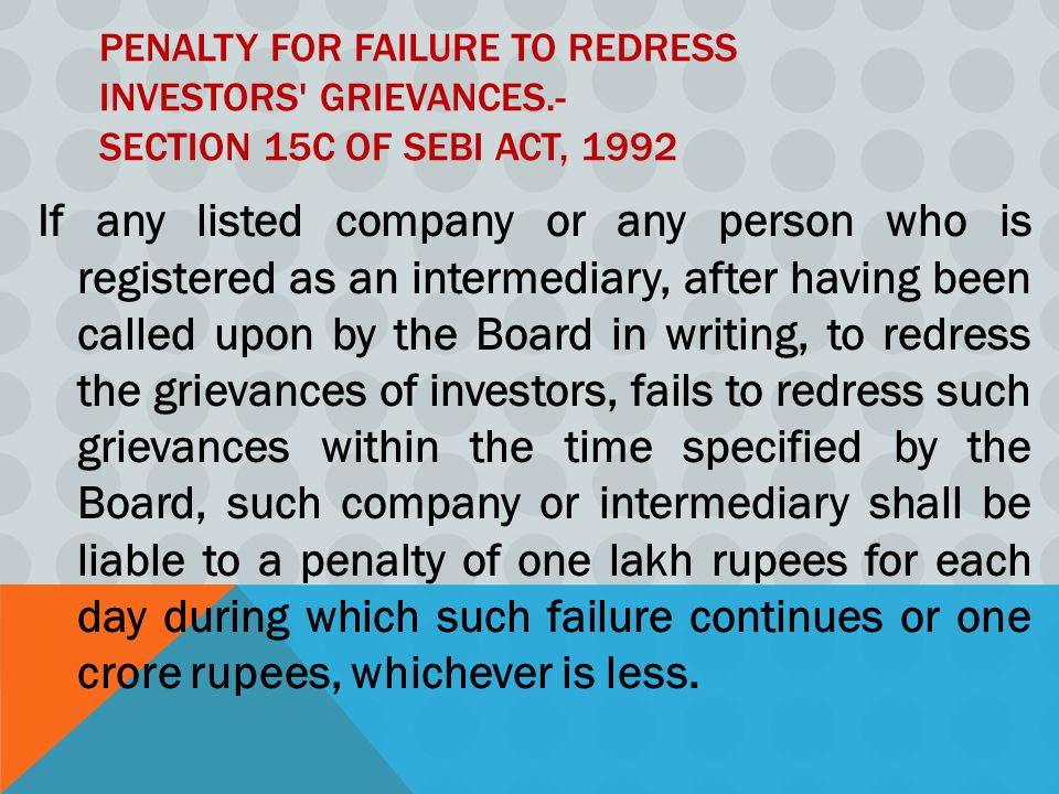 Penalty for failure to redress investors grievances