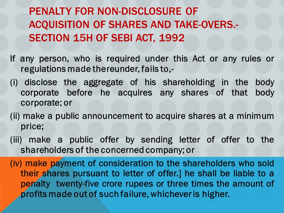 Penalty for non-disclosure of acquisition of shares and take-overs