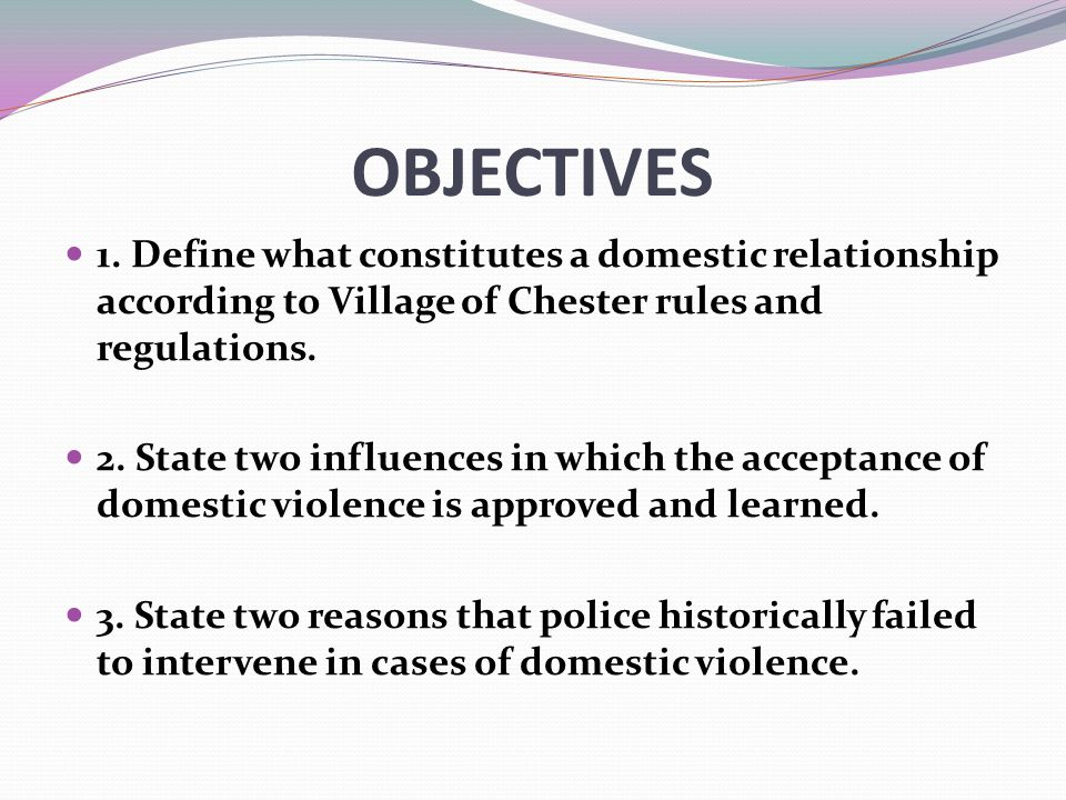 OBJECTIVES 1. Define what constitutes a domestic relationship according to Village of Chester rules and regulations.