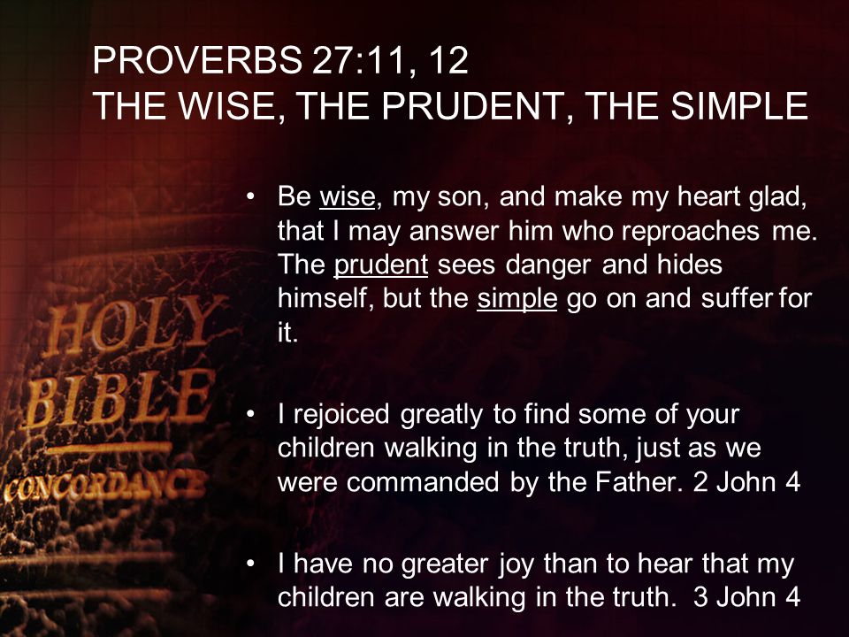 PROVERBS 27:11, 12 THE WISE, THE PRUDENT, THE SIMPLE