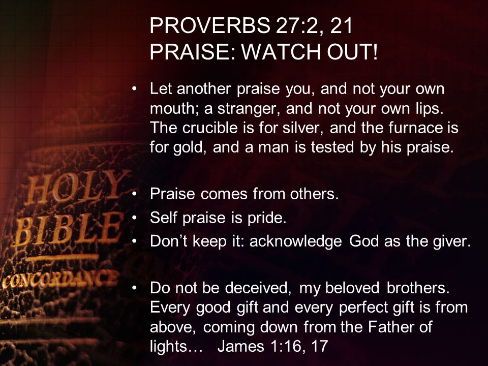 PROVERBS 27:2, 21 PRAISE: WATCH OUT!