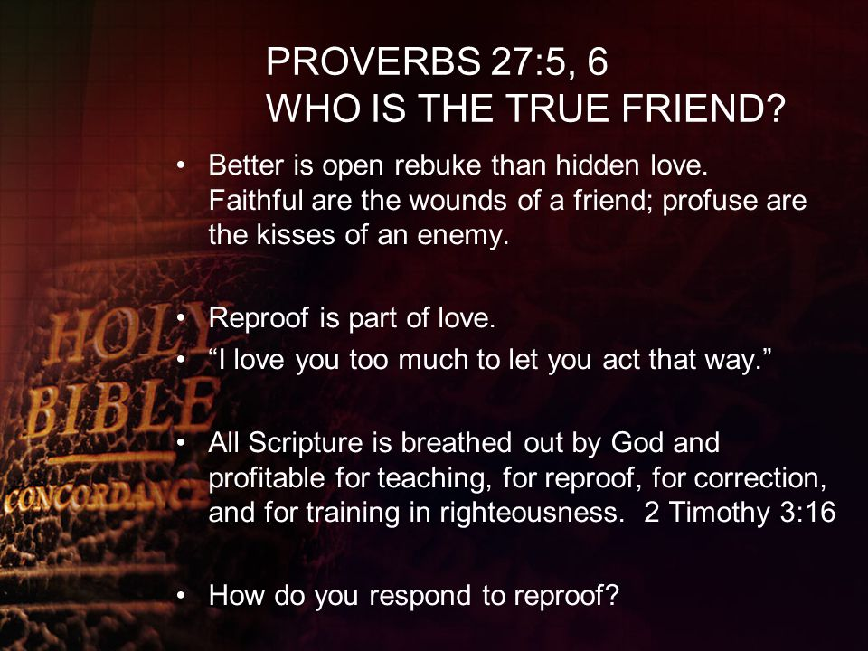 PROVERBS 27:5, 6 WHO IS THE TRUE FRIEND