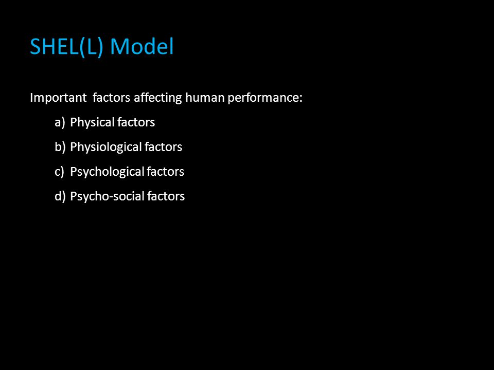 SHEL(L) Model Important factors affecting human performance: