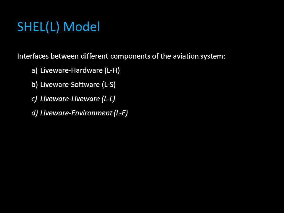 SHEL(L) Model Interfaces between different components of the aviation system: Liveware-Hardware (L-H)