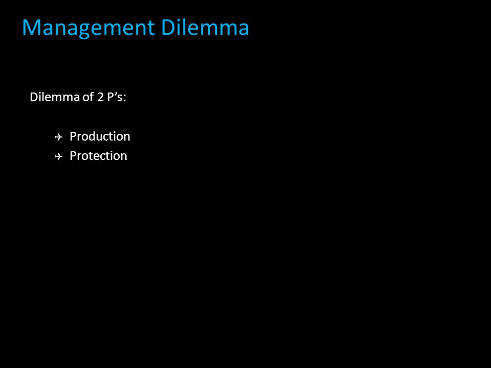 Management Dilemma Dilemma of 2 P's: Production Protection