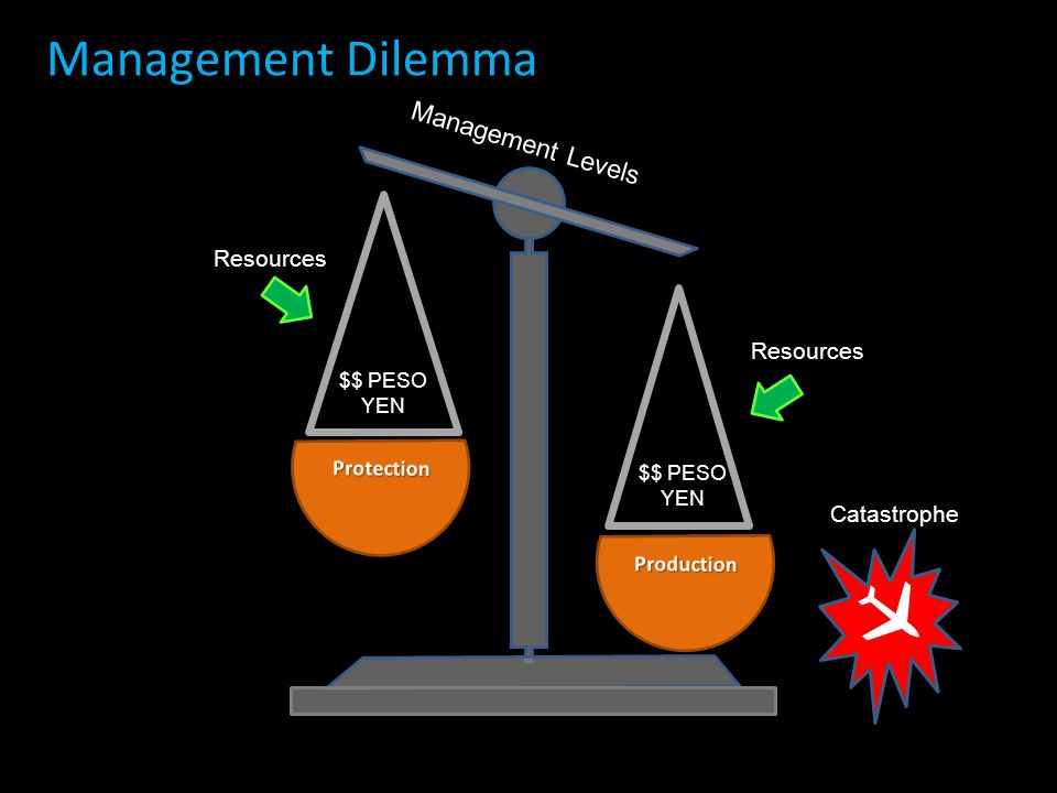  Management Dilemma Management Levels Resources Resources Catastrophe