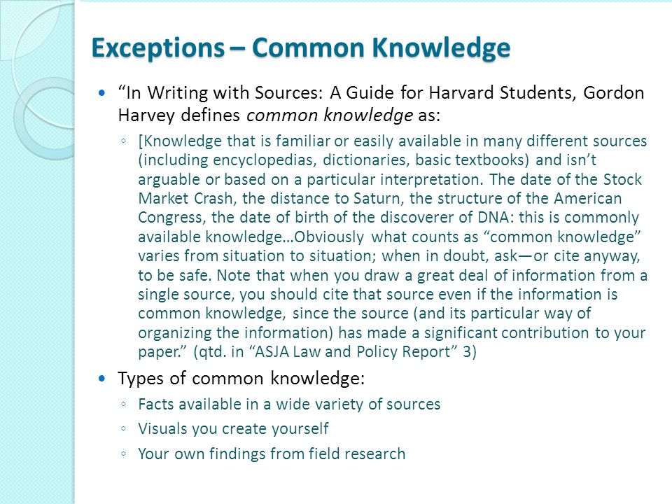 Exceptions – Common Knowledge