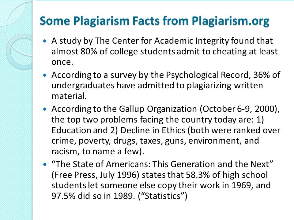 Some Plagiarism Facts from Plagiarism.org