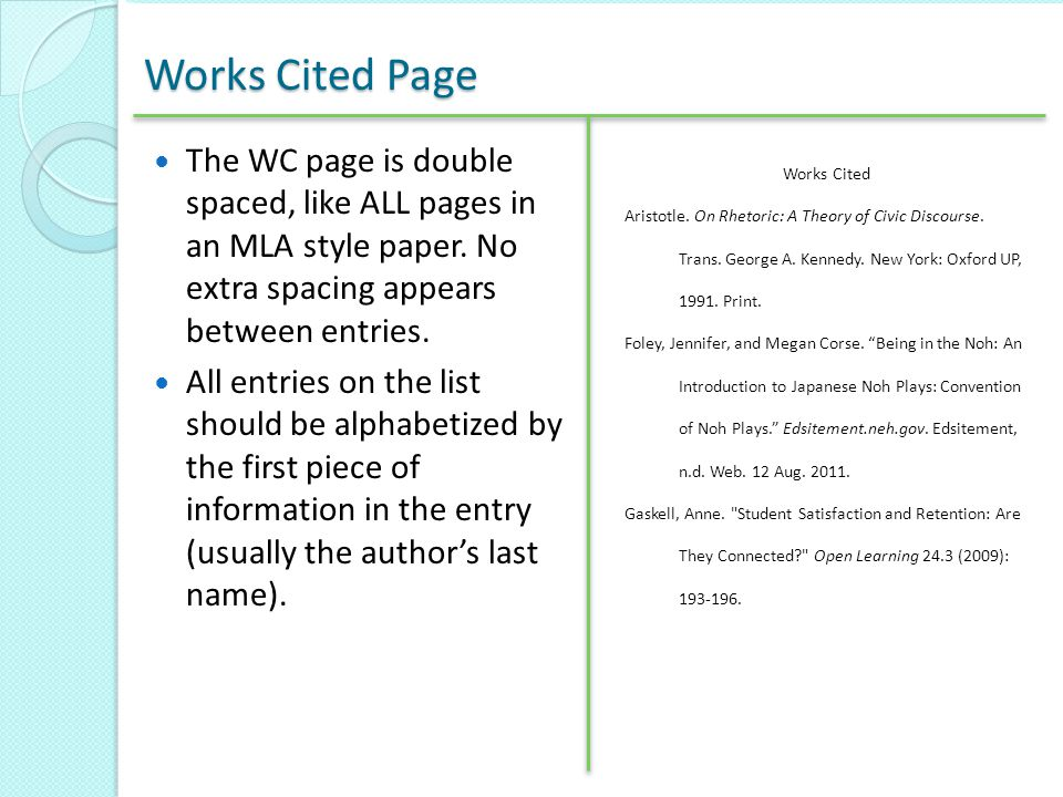 Works Cited Page The WC page is double spaced, like ALL pages in an MLA style paper. No extra spacing appears between entries.