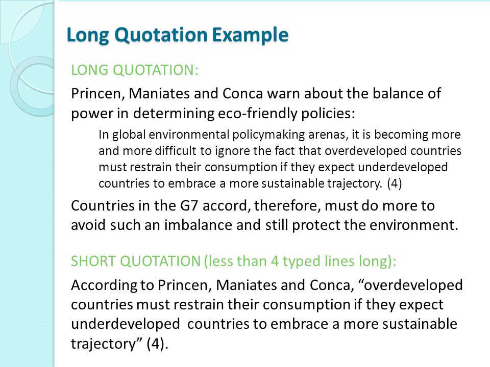 Long Quotation Example