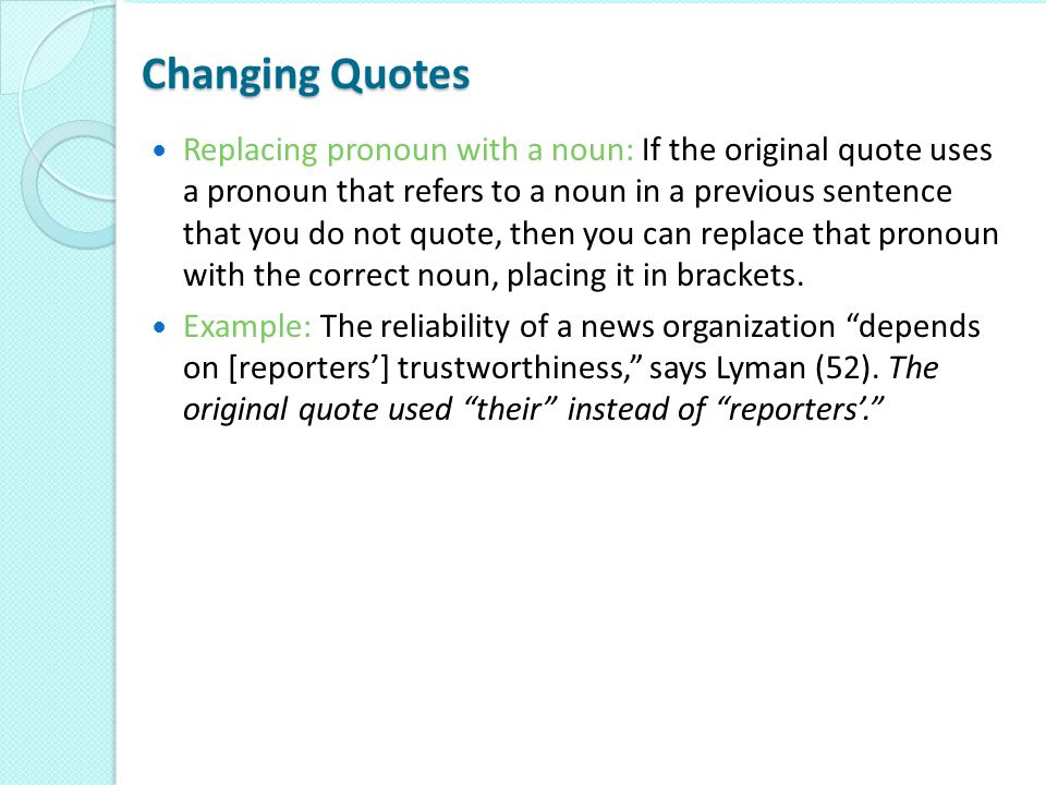 Changing Quotes