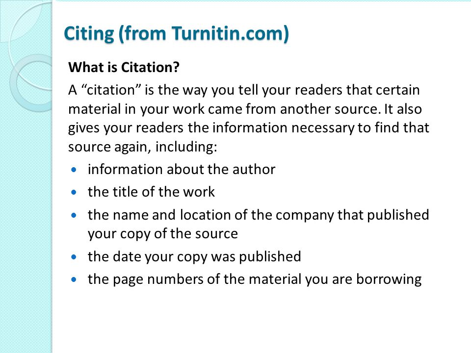 Citing (from Turnitin.com)
