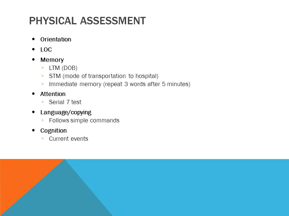 Physical assessment Orientation LOC Memory LTM (DOB)