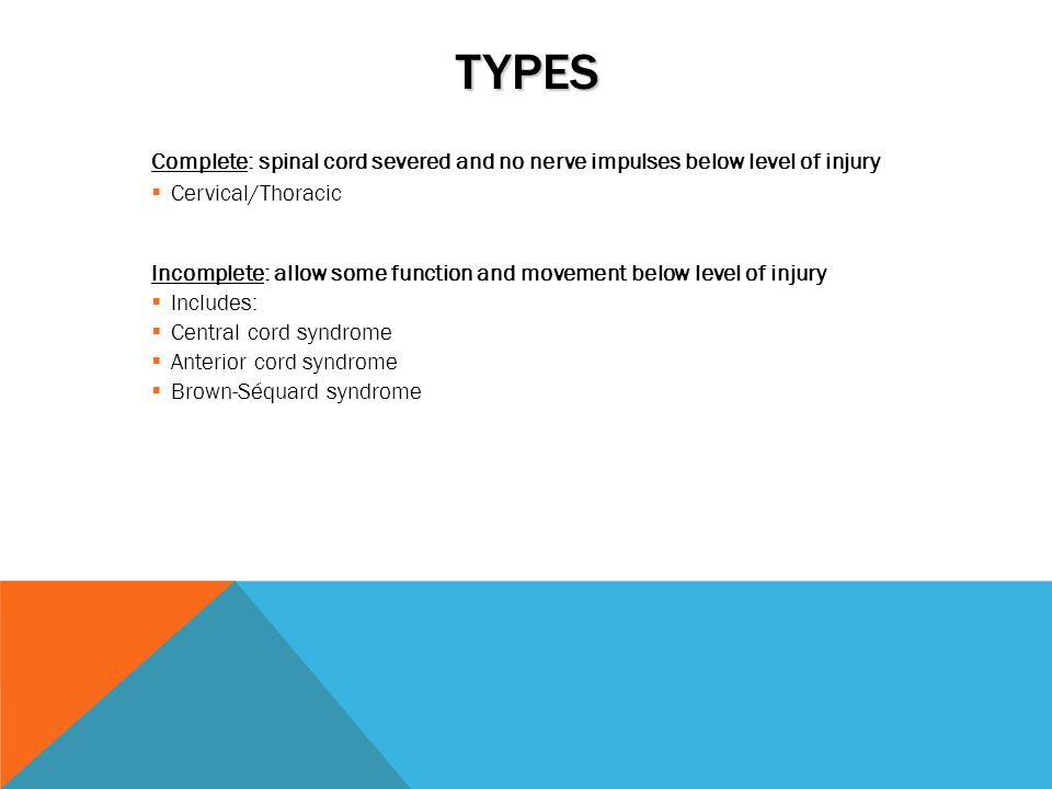 Types Complete: spinal cord severed and no nerve impulses below level of injury. Cervical/Thoracic.