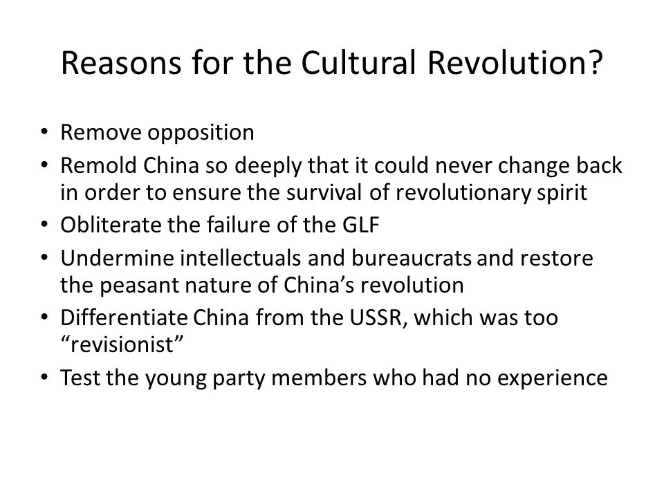 Reasons for the Cultural Revolution
