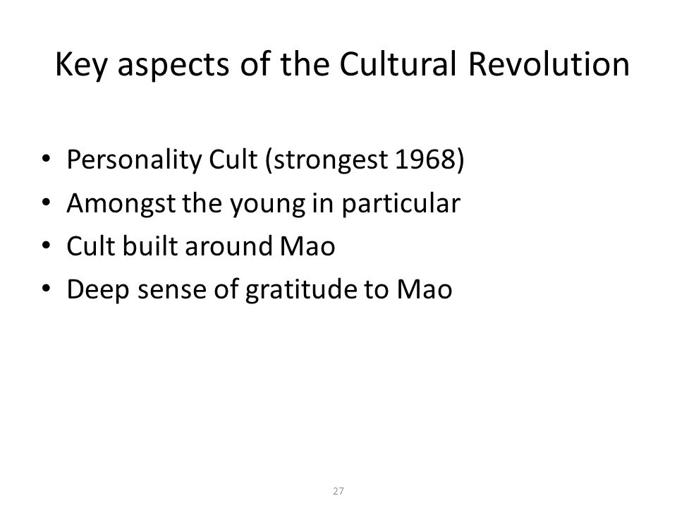 Key aspects of the Cultural Revolution