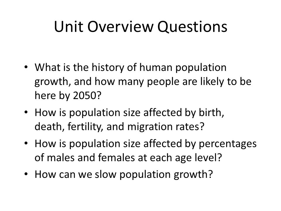 Unit Overview Questions